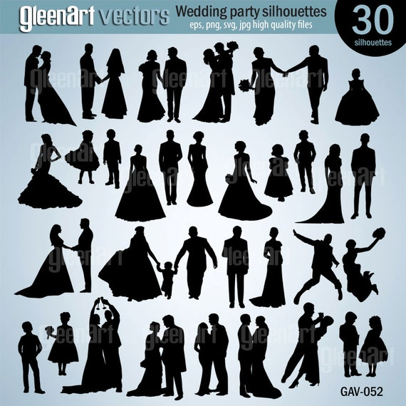 30 wedding party silhouette clipartwedding silhouette clip etsy image 0 junglespirit Gallery