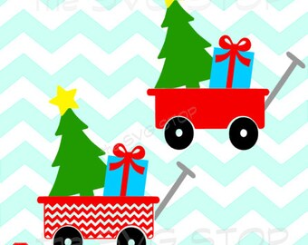 Christmas tree wagon SVG and studio files for Cricut, Silhouette, Vinyl Cutters and Screen Printing