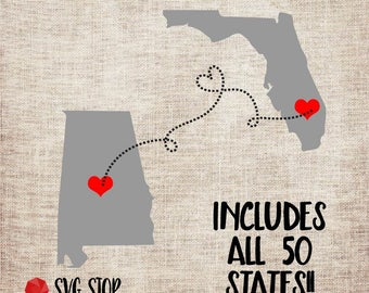 State to State SVG, DXF, PNG, Jpg, Eps Cuttable and Printable All 50 States included for Silhouette, Cricut, Sublimation Printing