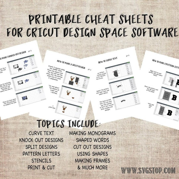 Printable Cheat Sheets For Cricut Design Space Beginners Etsy