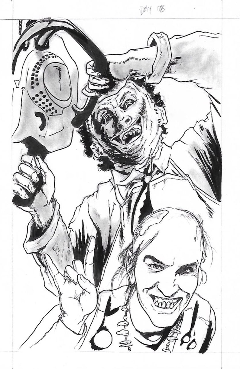 Texas chainsaw massacre - leatherface and chop-top original illustration