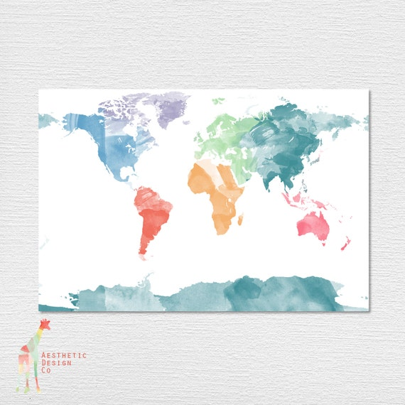 Download Watercolor World Map Poster Etsy
