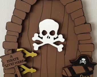 Boys Fairy Door Pirate themed bedroom Tooth Fairy Door , Magical Door fairy