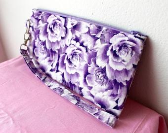 Purple Floral Wristlet