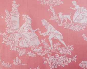 5.6 Yards - UNUSED Vintage French Versailles Motif Ticking Fabric 1960s Damask Sateen Perfect For Home Decor Upholstery Pillows