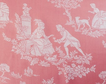 UNUSED Vintage French Versailles Motif Ticking Fabric 1960s Damask Sateen By The Yard Perfect For Home Decor Upholstery Pillows