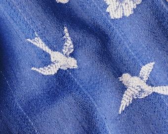 VERY RARE Antique Fabric | Cobalt Blue Birds Ticking | Home Decor Upholstery | 1920-1930 | Antique Pillows | Mattress Ticking ~ WAITLIST