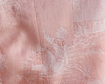 1920s RARE Antique French Versailles Motif Ticking Fabric Damask Cotton Pale Pink FADED and Timeworn