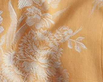 1940s Pale Yellow Floral Antique Ticking Fabric Timeworn Damask Cotton Rustic Home Decor Carnations RARE Treasure
