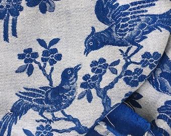 VERY RARE Antique Fabric   Cobalt Blue Birds Ticking   Home Decor Upholstery   1920-1930   Antique Pillows   Mattress Ticking Chinoiserie