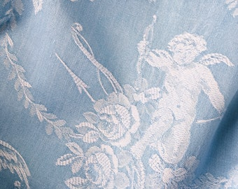Rare Antique French Cupid Motif Antique Ticking Fabric 1930s Timeworn SOFT Blue Cotton Damask