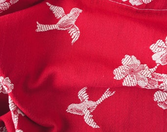 VERY RARE Antique Fabric | Red Birds Ticking | Home Decor Upholstery | 1920-1930 | Mattress Ticking Chinoiserie Swallows Cherry Blossoms