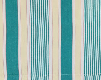 Green and Yellow Antique Ticking Fabric DELICIOUS Candy Stripes 1940-1950 Soft Cotton Twill Upholstery Pillows