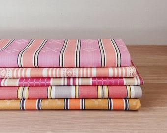 UNUSED Antique Pink and Orange Stripes Ticking Fabrics 1940-1950 Cotton Sateen