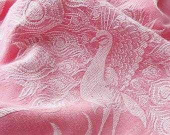 VERY RARE Antique Fabric | Tulip Pink Ticking Peacock Bird | Home Decor Upholstery | 1920-1930 | Antique Pillows | European Mattress Ticking