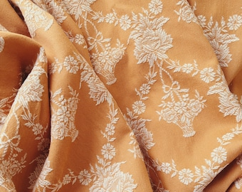 Lovely Pale Brown Floral Ticking Fabric | 1950s Garlands | Home Decor | Vintage Cotton | Antique European Mattress Textile Rustic Decor