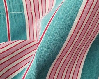 VERY LARGE Pink and Green RARE Ticking Fabric | 1940s Candy Stripes | Upholstery | Vintage Cotton | Antique European Treasure