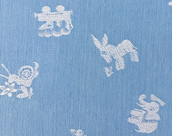 LARGE 1920s Sky Blue Antique Children's Nursery Ticking Fabric Timeworn Damask Cotton Soft and Faded RARE Treasure