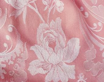 VERY RARE Antique Fabric | Floral Ticking | Home Decor Upholstery | 1930-1940 | Antique Pillows | Mattress Ticking Blush Pink