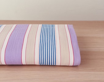 LARGE Lilac and Blue Antique Fabric Ticking Stripes 1950s Beautiful Soft Cotton Twill Mattress Ticking Home Decor Upholstery DELIGHTFUL
