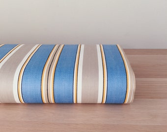 UNUSED Antique Blue and Taupe Stripes Ticking Fabric 1940s Cotton Sateen Perfect For Home Decor Upholstery Pillows