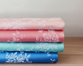 Pink Blue and Green Antique Floral Ticking Fabric | 1930-1950 | Antique Pillows | Upholstery | Mattress Ticking
