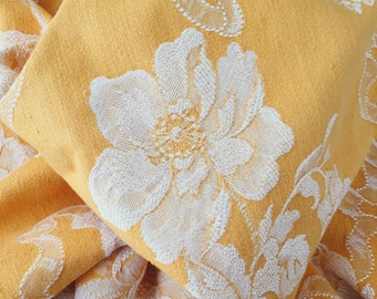 Antique Warm Yellow Floral Fabric Ticking With Peonies | Home Decor | 1940-1950 | Antique Pillows | Rare Mattress Ticking BEAUTIFUL