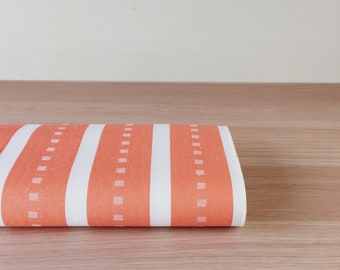 1900s Vintage Cotton Sateen By The Yard European Ticking Fabric Orange and White Stripes Home Decor Upholstery Pillows