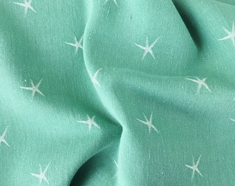 Pale Mint Green RARE Ticking Fabric | 1960s Small Stars | Home Decor | Vintage Cotton | Antique European Mattress Soft & Faded