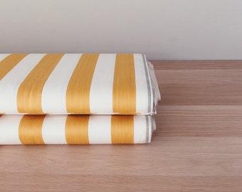 Antique European Ticking Fabric Dijon Yellow Stripes UNUSED Cotton Sateen By The Yard