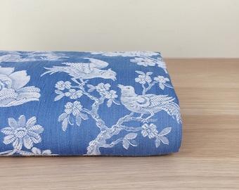 1940s Denim Blue Exotic Birds Antique Ticking Fabric Timeworn Damask Cotton RARE Treasure