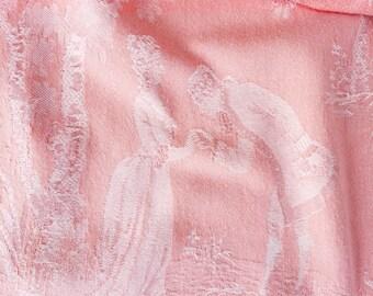 1930s Rare French Versailles Motif Antique Ticking Fabric Timeworn Damask Cotton Pale Pink BEAUTIFUL