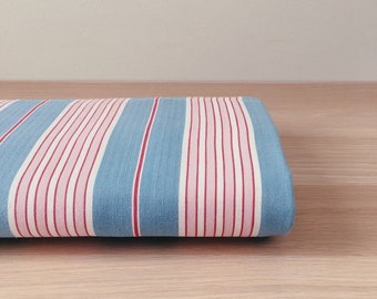 LOT - CHARMING Blue and Pink Antique Fabric Candy Stripes Soft Cotton Ticking Twill Upholstery Pillows c.1940