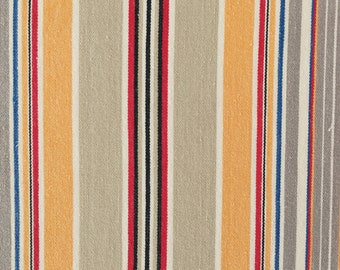 Beige and Yellow Antique Fabric Ticking Stripes 1950s Soft Cotton Twill Mattress Ticking Home Decor Upholstery Rustic