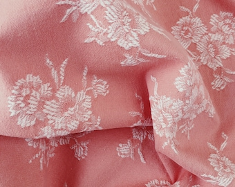 1940s Pale Pink Antique Floral Ticking Fabric Damask Cotton RARE Treasure Rustic Home Decor Carnations Motif