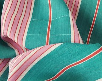 Rare Pink Green Stripes Antique Ticking Fabric c. 1950 Timeworn Soft Cotton TWILL Mattress Ticking ~ WAITLIST