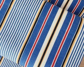 1950s PRISTINE Antique Ticking Fabric Blue Striped Cotton Twill Mattress Ticking Rare Vintage Textile By The Yard
