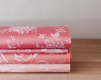 PRISTINE Pink Floral Antique Fabric DELICIOUS Mattress Ticking 1940-1950 Soft Cotton Sateen Upholstery Pillows By The Yard