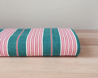 Beautiful Pink and Green Stripes Antique Ticking Fabric c. 1950 Soft Cotton Twill Mattress Ticking Perfect For Home Decor Pillows