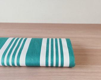 Antique Green Stripes Ticking Fabric c. 1950 Soft Cotton Sateen Mattress Ticking Perfect For Home Decor Pillows Beautiful