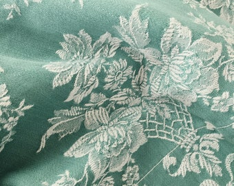 1940s Floral Antique Ticking Fabric BEAUTIFUL Light Green Damask Cotton Soft and Delightful Antique European Textile Rustic Decor