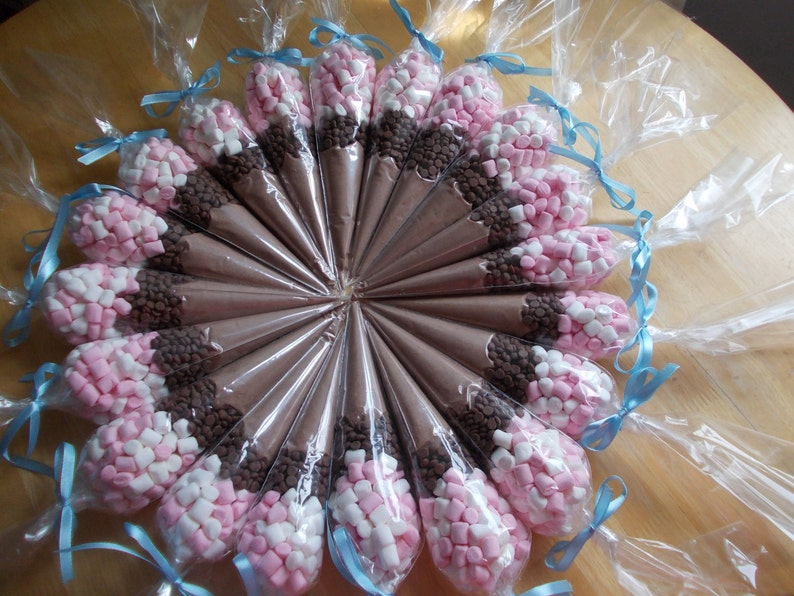 Hot Chocolate 20 Cones Wedding Favours Candy Cone Set Of 20 Etsy