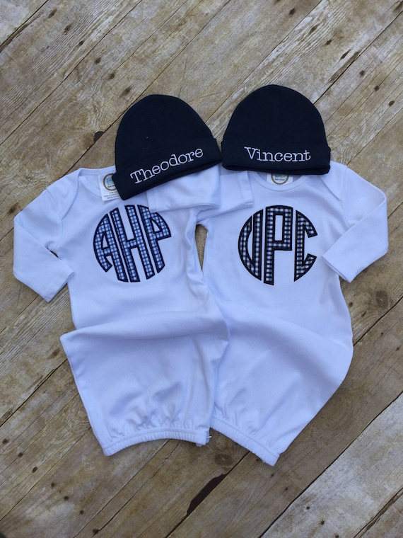 Baby Boy Monogrammed Infant Gown Newborn Boy Personalized | Etsy