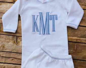 Baby Boy Monogrammed Infant Gown, Baby Gown For Boy, Going Home Outfit, Baby Shower Gift, New Baby Gift, First Picture Outfit, Baby Keepsake