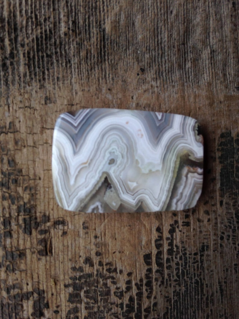 Grey and Beige Rectangular White 32.10mm Bargello: Crazy Lace Agate Cabochon