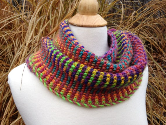 Linen Stitch Infinity Scarf Wool Blend Hand Knit Rainbow Etsy