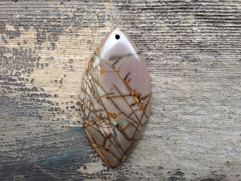 Freeform and pale Yellow spots Picasso Jasper Pendant Bead Mauve with Brown Crackle