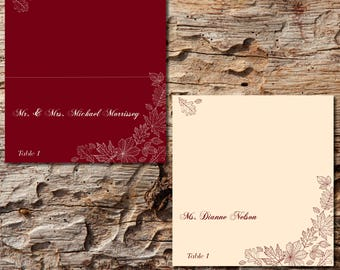 Fall Wedding Place Cards Custom Printed