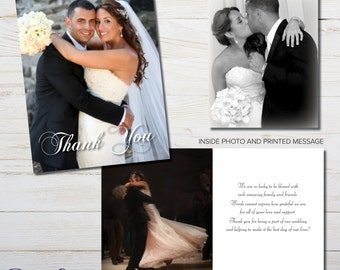Wedding Photo Thank You Cards. Printed cards with your photos and personalized message.