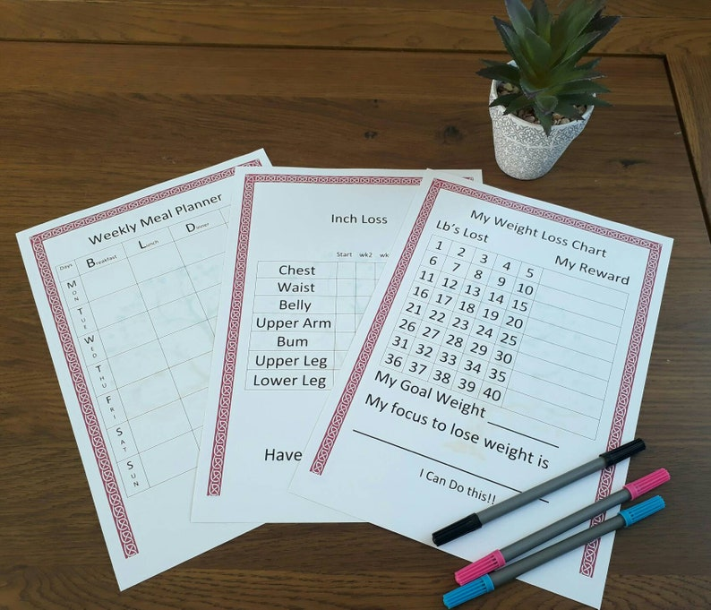 Printable Weight Loss chart, Inch loss chart, Meal planner chart, Weight  loss pack, Pdf weight loss chart, printable weight loss chart,